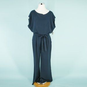 Eliza J 10 Solid Navy Blue Jumpsuit NWOT